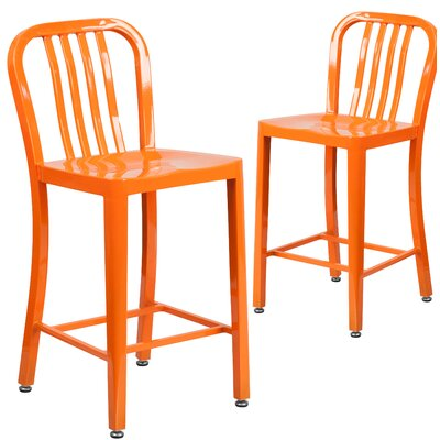 Fitzgerald 24 Bar Stool Finish: Orange