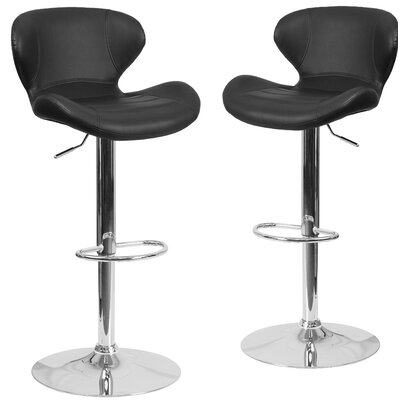 Nutt Adjustable Height Swivel Bar Stool Upholstery: Black