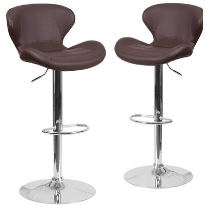 Nutt Adjustable Height Swivel Bar Stool Upholstery: Brown