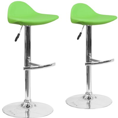 Nyberg Adjustable Height Swivel Bar Stool Upholstery: Green