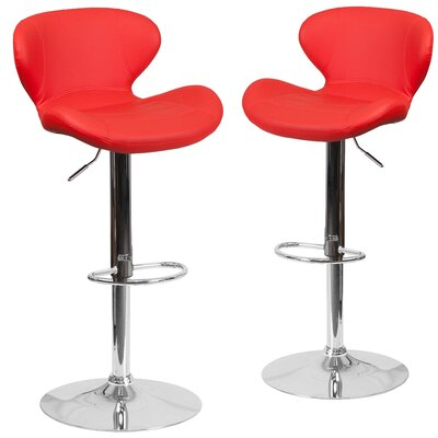 Nutt Adjustable Height Swivel Bar Stool Upholstery: Red