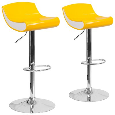 Adjustable Height Swivel Bar Stool Finish: Yellow