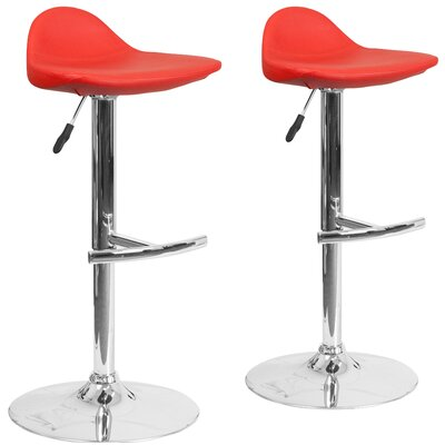 Nyberg Adjustable Height Swivel Bar Stool Upholstery: Red