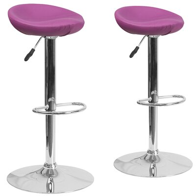 Nutting Adjustable Height Swivel Bar Stool Upholstery: Purple