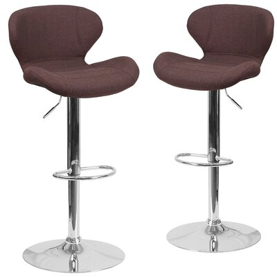 Nuttall Adjustable Height Swivel Bar Stool Upholstery: Brown