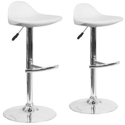 Nyberg Adjustable Height Swivel Bar Stool Upholstery: White