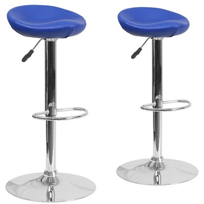 Nutting Adjustable Height Swivel Bar Stool Upholstery: Blue