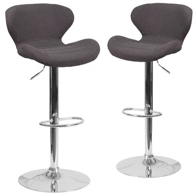 Nuttall Adjustable Height Swivel Bar Stool Upholstery: Black