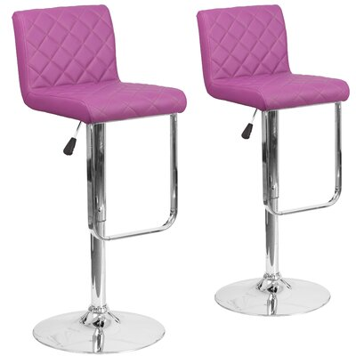 Nuzzo Adjustable Height Swivel Bar Stool Upholstery: Purple