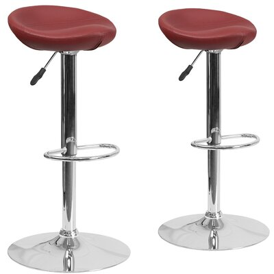 Nutting Adjustable Height Swivel Bar Stool Upholstery: Burgundy