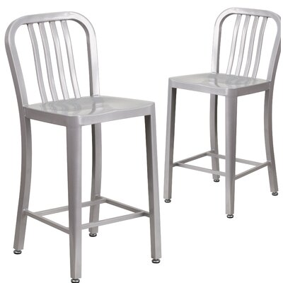 Fitzgerald 24 Bar Stool Finish: Silver