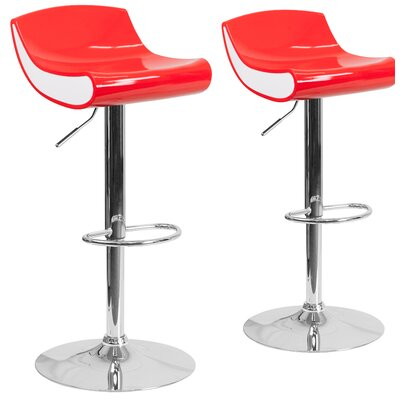 Adjustable Height Swivel Bar Stool Finish: Red