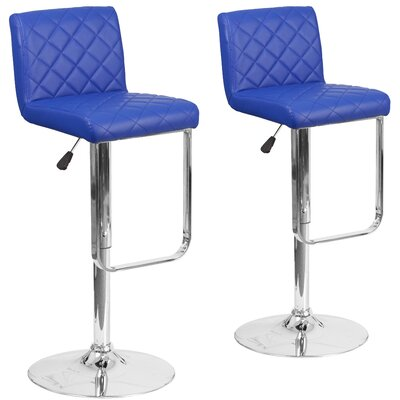 Nuzzo Adjustable Height Swivel Bar Stool Upholstery: Blue