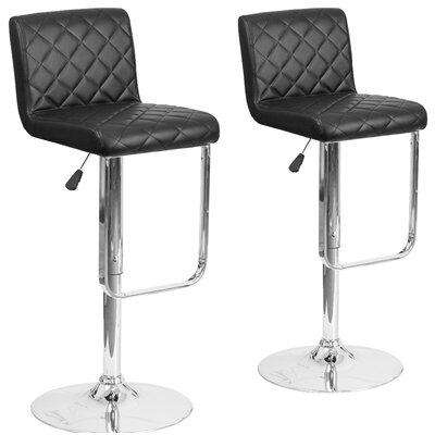 Nuzzo Adjustable Height Swivel Bar Stool Upholstery: Black