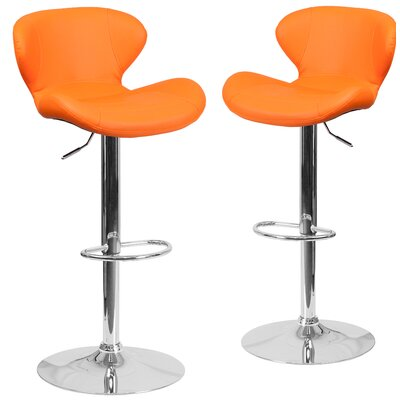 Nutt Adjustable Height Swivel Bar Stool Upholstery: Orange