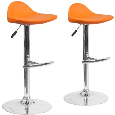 Nyberg Adjustable Height Swivel Bar Stool Upholstery: Orange