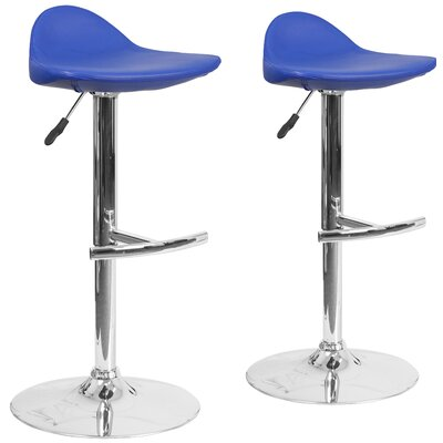 Nyberg Adjustable Height Swivel Bar Stool Upholstery: Blue