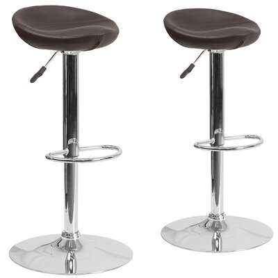 Nutting Adjustable Height Swivel Bar Stool Upholstery: Brown