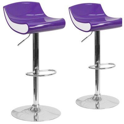 Greensboro Adjustable Height Swivel Bar Stool Finish: Purple