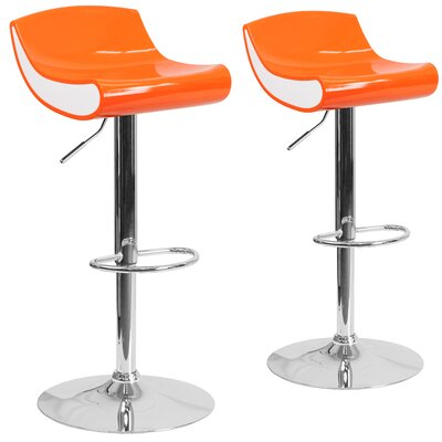 Greensboro Adjustable Height Swivel Bar Stool Finish: Orange
