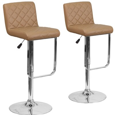 Nuzzo Adjustable Height Swivel Bar Stool Upholstery: Cappuccino