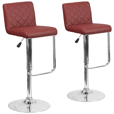 Nuzzo Adjustable Height Swivel Bar Stool Upholstery: Burgundy
