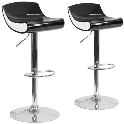 Greensboro Adjustable Height Swivel Bar Stool Finish: Black