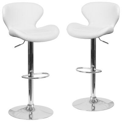 Nutt Adjustable Height Swivel Bar Stool Upholstery: White