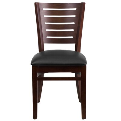 Darby Series Side Chair Upholstery: Black, Finish: Walnut