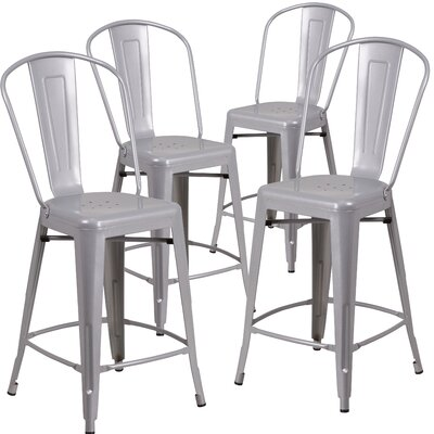 Sheng 24.25 Bar Stool Finish: Silver