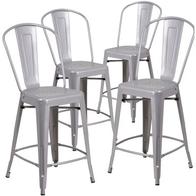 Christena 24.25 Bar Stool Finish: Silver