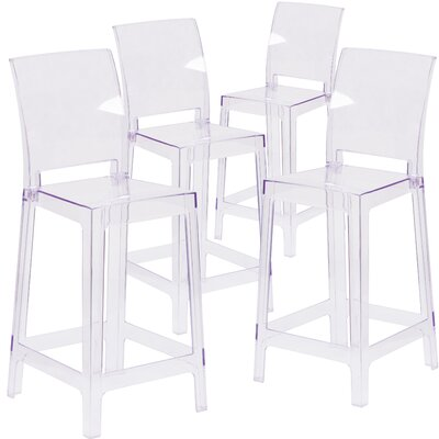 Ghost Counter Bar Stool with Square Back
