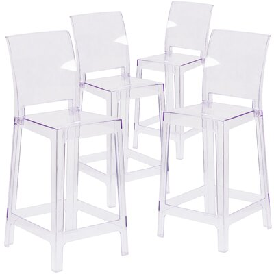 Darchelle Transparent Crystal Counter Bar Stool with Square Back