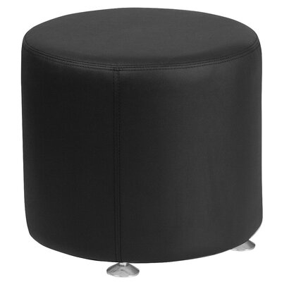 Krysten Solid Round Leather Ottoman Upholstery: Black