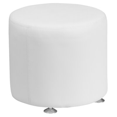 Krysten Solid Round Leather Ottoman Upholstery: White