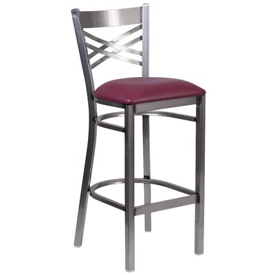Socorro 31 Black Bar Stool Upholstery: Burgundy