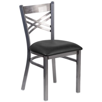 Allie Curved Coated X Back Metal Restaurant Side Chair Upholstery: Black