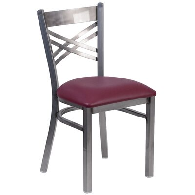 Allie Curved Coated X Back Metal Restaurant Side Chair Upholstery: Burgundy