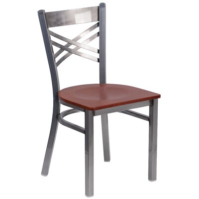 Allie Coated X Back Metal Restaurant Side Chair Finish: Cherry/Clear