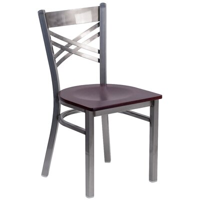 Socorro Coated X Back Metal Restaurant Side Chair Finish: Mahogany/Clear