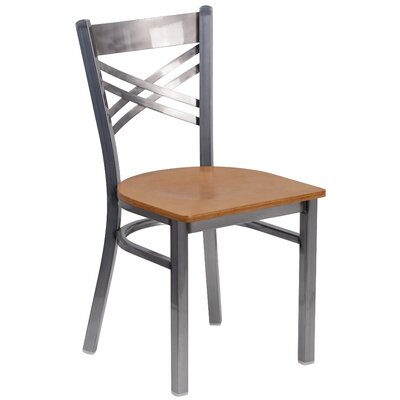 Allie Coated X Back Metal Restaurant Side Chair Finish: Natural/Clear