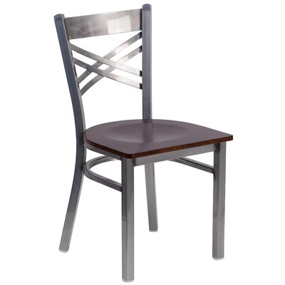 Socorro Coated X Back Metal Restaurant Side Chair Finish: Walnut/Clear