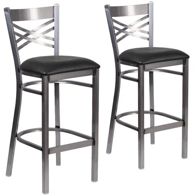 Aline 31 Metal Bar Stool Upholstery: Black