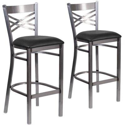 Aline 31 Metal Bar Stool Upholstery: Black