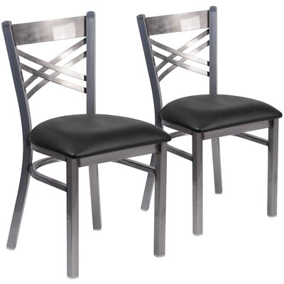 Allie 2 Pieces Coated X Back Metal Restaurant Side Chair Upholstery: Black