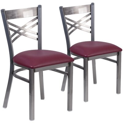 Allie 2 Pieces Coated X Back Metal Restaurant Side Chair Upholstery: Burgundy