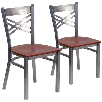 Allie 2 Pieces Curved Coated X Back Metal Restaurant Side Chair Finish: Cherry
