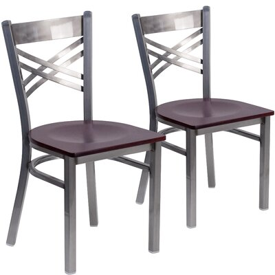 Allie 2 Pieces Curved Coated X Back Metal Restaurant Side Chair Finish: Mahogany
