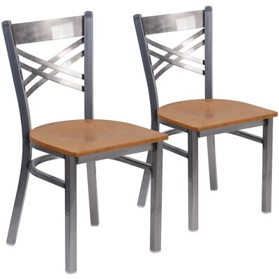 Allie 2 Pieces Curved Coated X Back Metal Restaurant Side Chair Finish: Natural