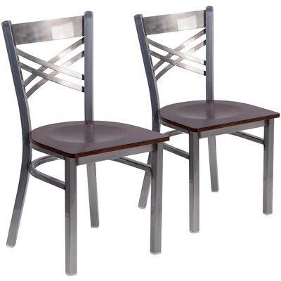 Socorro Curved Coated X Back Metal Restaurant Side Chair Finish: Walnut